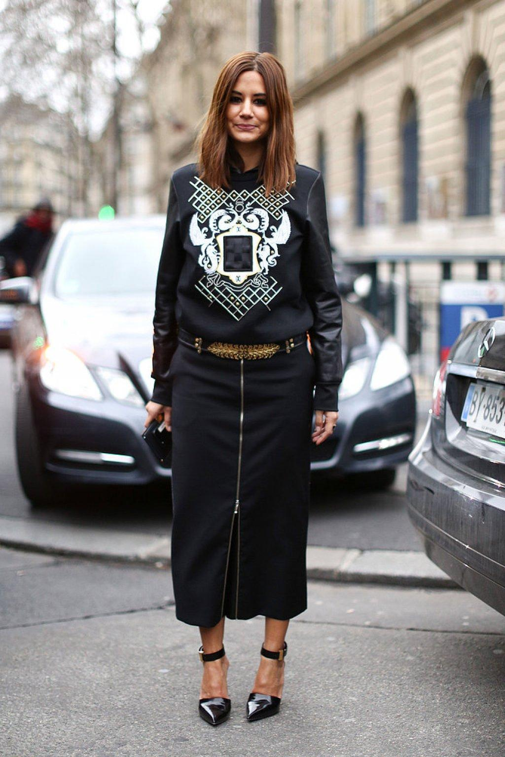 pfw-fall-2013-christine-centenera-streetstyle-balmain-black-white-sweater
